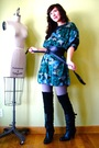 Black-socks-black-steve-madden-boots-green-reformed-dress-silver-american-