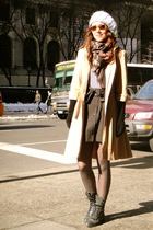 yellow vintage coat - gray Justin boots - gray H&M skirt
