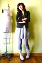 white Dr Martens boots - purple American Apparel tights - gray American Apparel