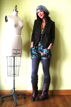 blue Target shorts - brown Frye boots - green vintage blazer