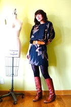 orange Miss Sixty boots - black tights - black vintage dress