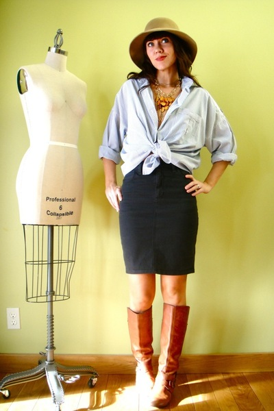 gray American Apparel skirt - orange Miss Sixty boots - gold Clydes Rebirth acce