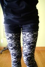 Gray-unsure-leggings-black-vintage-boots-black-vintage-shorts-orange-burbe