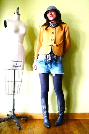 gold vintage jacket - gray JCrew tights - gray vintage boots