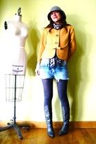 gold vintage jacket - gray JCrew tights - gray vintage boots
