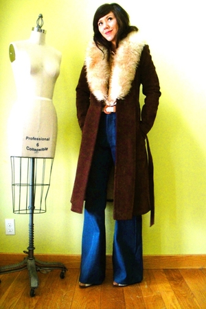 brown fur trimmed vintage coat - blue vintage pants