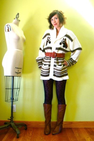 white vintage cardigan - black Target leggings - brown vintage boots