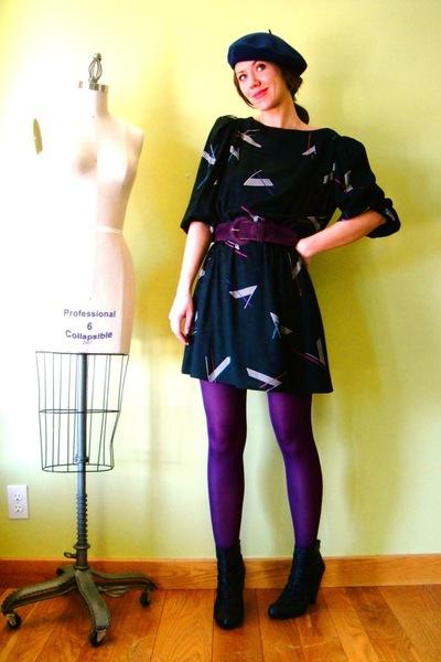 purple tights - black vintage dress - black Target boots - blue vintage hat