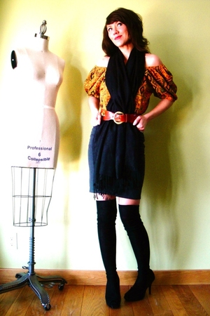 black JCrew socks - gray American Apparel skirt - gold vintage blouse