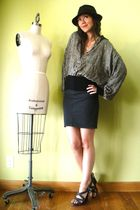 gray American Apparel skirt - gray Old Navy shoes - brown vintage hat