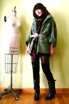 green military coat - black calvin klein socks