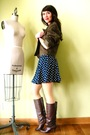 Blue-vintage-dress-brown-vintage-boots-green-vintage-coat-gold-american-ap
