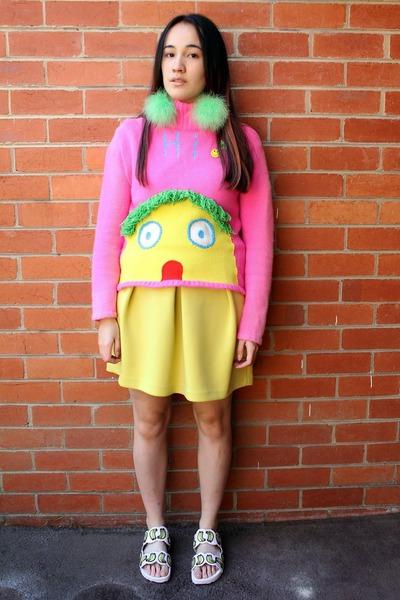 yellow asos skirt - hot pink Walter van Beirendonck sweater