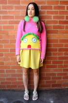 yellow asos skirt - hot pink Walter van Beirendonck sweater