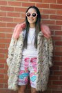 Camel-asos-coat-white-jay-jays-shirt-bubble-gum-emma-mulholland-shorts