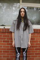 black Black Milk leggings - white pulp kitchen socks - black thrifted blouse