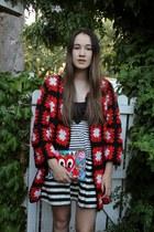 black Dr Martens boots - black bardot dress - red poppy lissiman bag