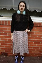 black Ezzentric Topz sweater - brown thrifted vintage dress