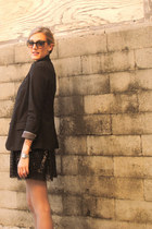 Forever 21 boots - black Anthropologie blazer - silver Express tights - Ray Ban