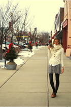 heather gray JCrew skirt - ivory JCrew sweater - Bakers shoes - Gap blouse