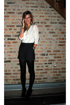 Zara blouse - Forever 21 shorts - Forever 21 boots - Gap tights - banana republi