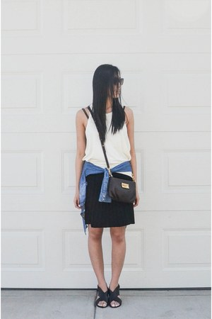 dark brown Marc by Marc Jacobs bag - black vintage skirt - black Topshop sandals