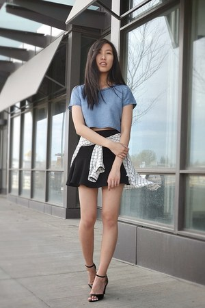 blue hm top - black Zara skirt - white Forever 21 blouse