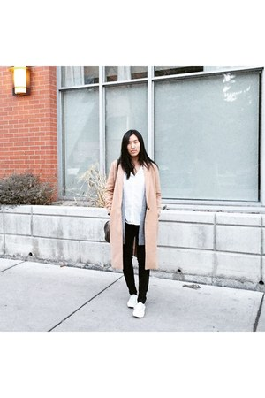 tan Urban Outfitters coat - white shoes
