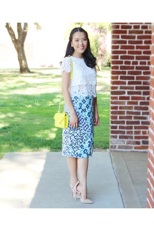 yellow neon Ross bag - light blue floral print Marshalls skirt