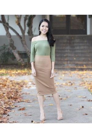 tan Forever 21 skirt - olive green top