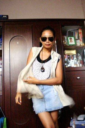 thrift top - vintage vest - dept store skirt - bought online accessories - Steve
