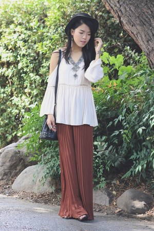 black straw hat hat - black studded bag bag - brick red pleats Forever 21 pants