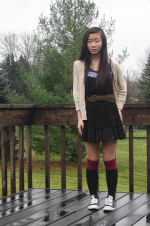 crocheted slip free people dress - maroon-black  socks - braided  belt