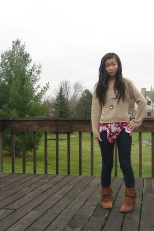 izzy 3 jae sweater -  boots - American Rag jeans -  top - swarovski necklace
