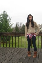 top -  boots - American Rag jeans - izzy 3 jae sweater - swarovski necklace