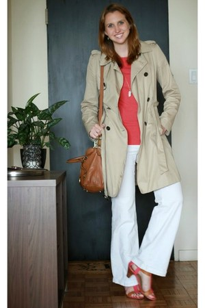 salmon The Limited top - tan trench banana republic coat