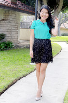 aquamarine blouse - black skirt - eggshell heels
