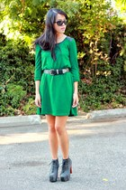 green dress - black Jeffrey Campbell pumps