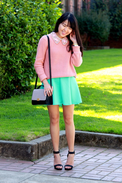 black stripes Ross bag - bubble gum knit Forever 21 sweater
