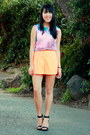 orange high waisted Forever 21 shorts - light purple abstract Forever 21 top