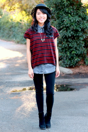 black Forever 21 hat - red Ross top - black Wet Seal pants