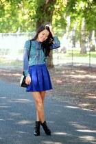 blue Forever 21 skirt - blue printed Forever 21 blouse - black Target heels
