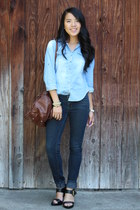 navy denim jeans - brown bag - black heels - sky blue denim top