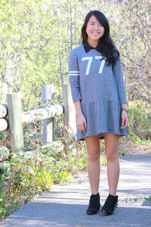black suede Forever 21 boots - heather gray waist drop Forever 21 dress