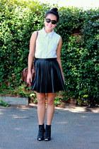 light blue denim dress - black boots - dark brown bag - black pleather skirt