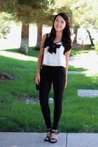 white lace top - black pants