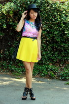 yellow circle skirt DIY skirt - black woven Forever 21 hat