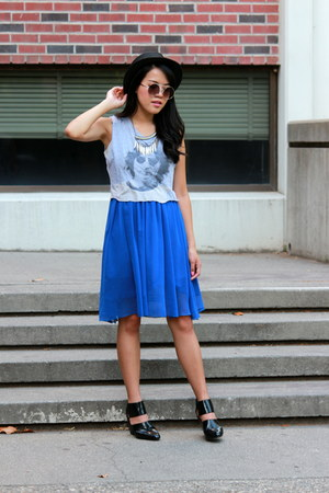 black woven Forever 21 hat - blue midi DIY skirt