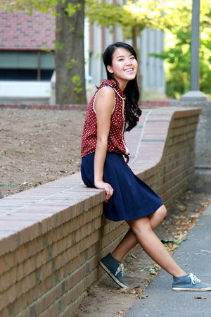 brick red polka dots Forever 21 top - navy circle skirt
