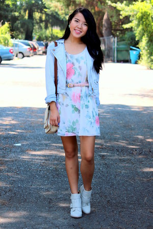 light blue denim jacket - pink floral dress
